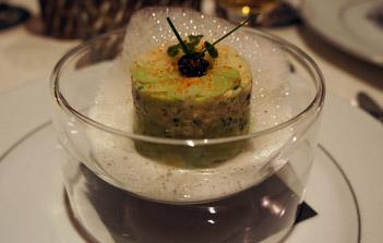 Tourteaux et son émulsion à la Pilsner Urquell au restaurant l'Arôme de Paris